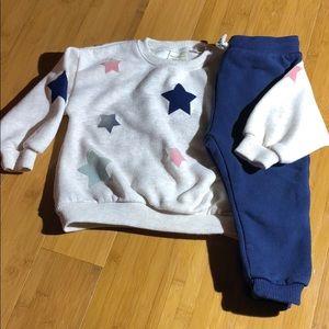 Zara fuzzy star print tracksuit tan/navy 2/3years